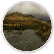 A River Runs Through The Brooks Range Alaska Round Beach Towel