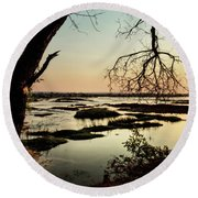 A River Sunset In Botswana Round Beach Towel