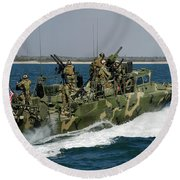 A Riverine Command Boat Conducts Round Beach Towel