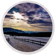 A Road To The Future Round Beach Towel