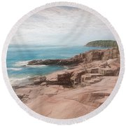 A Coastal Scene Round Beach Towel