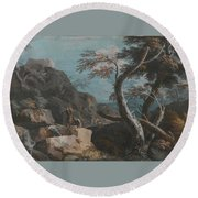 A Rocky Wooded Landscape With Three Peasants Round Beach Towel