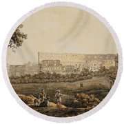 A Roman Landscape With The Colosseum And Figural Staffage Round Beach Towel