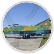 A Romanian Air Force Mig-21b Airplane Round Beach Towel