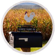 A Rooster Above A Mailbox 1 Round Beach Towel