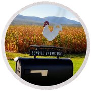A Rooster Above A Mailbox 2 Round Beach Towel