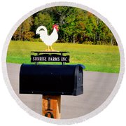A Rooster Above A Mailbox 3 Round Beach Towel