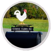 A Rooster Above A Mailbox 4 Round Beach Towel