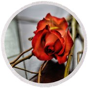 A Rose On Bamboo Round Beach Towel