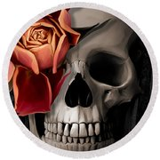 A Rose On The Skull Round Beach Towel