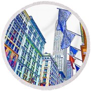 A Row Of Flags In The City Of New York 1 Round Beach Towel