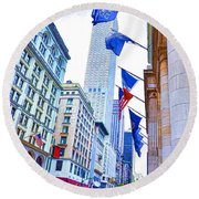 A Row Of Flags In The City Of New York 2 Round Beach Towel