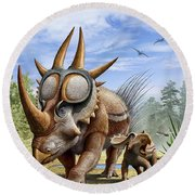 A Rubeosaurus And His Offspring Round Beach Towel