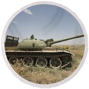A Russian T-62 Main Battle Tank Rests Round Beach Towel