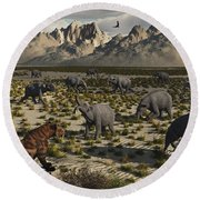 A Sabre-toothed Tiger Stalks A Herd Round Beach Towel by Mark Stevenson