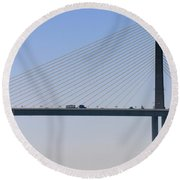 A Sailing Boat Passes Under The Bridge In Tampa Bay Round Beach Towel