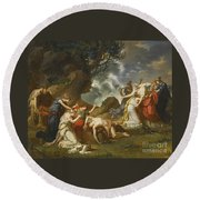 A Scene From Classical Mythology Round Beach Towel