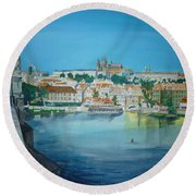 A Scene In Prague 3 Round Beach Towel