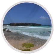 A Scenic Look At Boca Keto On The Island Of Aruba Round Beach Towel