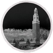 A School's Clock Tower Round Beach Towel