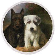 A Scottish And A Sealyham Terrier Round Beach Towel