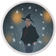 A Sea Witch's Blessed Yule Round Beach Towel