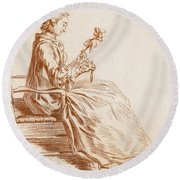 A Seated Woman Round Beach Towel
