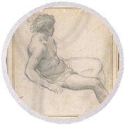 a Seated Youth for the Age of Gold , Pietro da Cortona Round Beach Towel