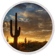 A Serene Sunset In The Sonoran Desert  Round Beach Towel