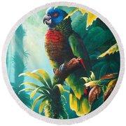 A Shady Spot - St. Lucia Parrot Round Beach Towel