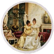 A Shared Confidence Round Beach Towel by Joseph Frederick Charles Soulacroix
