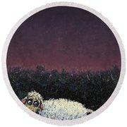 A Sheep In The Dark Round Beach Towel by James W Johnson