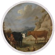 A Shepherd With His Flock In A Landscape With Ruins Round Beach Towel