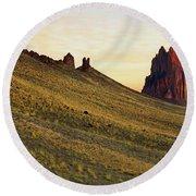 A Shiprock Sunrise - New Mexico - Landscape Round Beach Towel