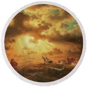 A Shipwreck By The Rocks Round Beach Towel