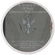 A Silk Screen Printing Of Early Connecticut Wall Decorations, Portfolio Cover Round Beach Towel