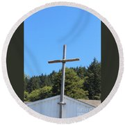 A Simple Cross On Hwy 101 Round Beach Towel
