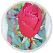 A Single Rose In October Round Beach Towel