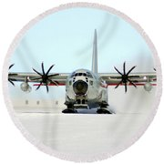 A Ski-equipped Lc-130 Hercules Round Beach Towel by Stocktrek Images