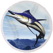 A Sleek Blue Marlin Bursts Round Beach Towel
