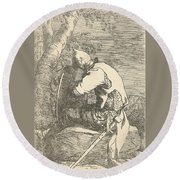 A Sleeping Warrior Seated On A Rock And Leaning On His Shield Round Beach Towel