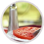 A Slice Of Beefsteak Tomato With Salt Round Beach Towel