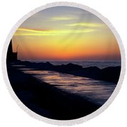 A Sliver Of Sunset Round Beach Towel