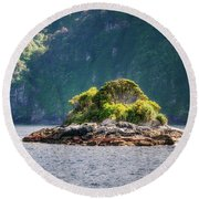 A Small Rocky Island At Doubtful Sound Round Beach Towel