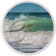 A Small Tube Wave In Atlantic Ocean Round Beach Towel