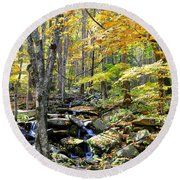 A Smokey Mountain Stream  Round Beach Towel