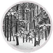 A Snowy Day Bw Round Beach Towel