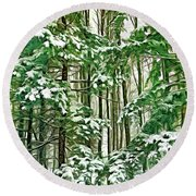 A Snowy Day - Paint Round Beach Towel