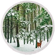 A Snowy Day Round Beach Towel