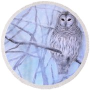 A Barred Owl Round Beach Towel